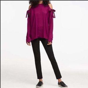 NWT DKNY magenta cold shoulder tie blouse sz. M
